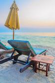 Beach umbrella in twilight — Stock Photo
