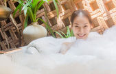Woman in jacuzzi, spa bath — Stock Photo