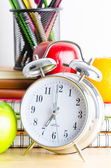 Note books , clock , pencils , apples — 图库照片