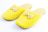 Yellow house slippers — Stock Photo