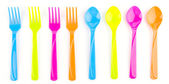 Color spoon fork dish plastic isolated white background — Stock Photo