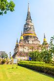 Wat Yai Chaimongkol temple in ayutthaya Thailand — Stock Photo