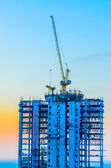 Crane construction twilight times — Stock Photo