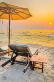 Umbrella beach in twilight times — Stock Photo