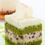 Matcha green tea cake isolated on white background — Stock Photo #45251171