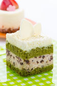 Matcha green tea cake isolated on white background — Stock Photo