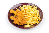 French fries and fried chicken isolated white background — 图库照片