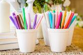 Color pen cup — Stock Photo