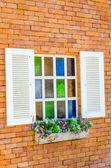 Window on brick wall — Stock Photo