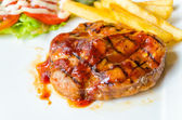 Barbecue grilled pork steak — Stock Photo