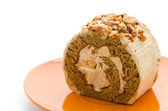 Roll coffee cake isolated on white background — 图库照片