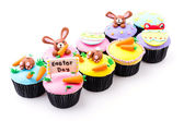 Easter cupcakes isolated white background — Stock fotografie