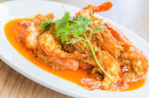 Fried shrimp garlic — Stock Photo