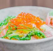 Salmon salad japanese food — Stock Photo