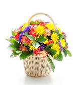 Bouquet in basket — Stock Photo