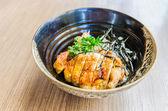 Teriyaki chicken on rice — Stock Photo