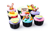 Easter cupcakes isolated white background — Stok fotoğraf
