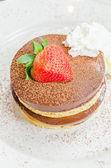 Chocolate pudding pancake — Stock Photo