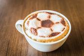 Soccer latte coffee — Stock Photo