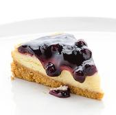 Blueberry cheesecake isolated white background — Stock Photo