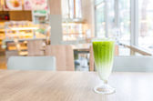 Iced green tea latte — Stock Photo