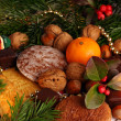 Sweets under the cristmas tree. — Stock Photo
