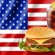 Hamburger and cola with usa flag — Stock Photo #15748607