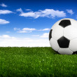 Soccer ball  blue sky I — Stock Photo