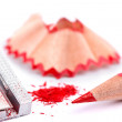 Red pencil and sharpener - Stock Photo
