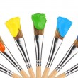 Colored paint brushes - Stock Photo