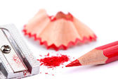 Red pencil and sharpener — Stock Photo