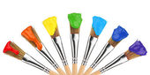 Colored paint brushes — Stock Photo