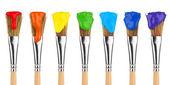 Kolorowe farby pędzle — Zdjęcie stockowe