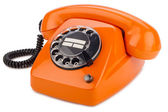 Orange retro phone — 图库照片
