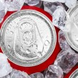 Drink cans in crushed ice — Stock Photo #24565441