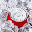 Drink cans in crushed ice — Stock Photo