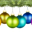 Christmas balls row — Stock Photo