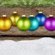 Christmas balls and fir rustic — Stock Photo