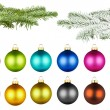 Christmas balls and fir branch set — Stock Photo