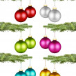 Stock Photo: Christmas balls on fir branch set I