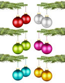 Christmas balls on fir branch set I — Stock Photo