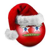 Funny christmas ball with santa hat — Stock Photo