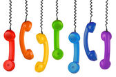 Retro handset row — Stock Photo