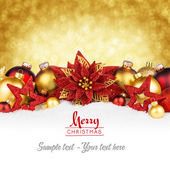 Golden red christmas card — Stock Photo