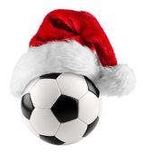 Soccer ball santa hat — Stock Photo