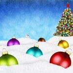 Christmas balls and xmas tree in snow — Stock Photo #39212987