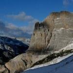 Snowfall Dolomiti mountains — Stock Photo