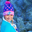 Stock Photo: Girl in freeze forest