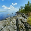 Stony shore of Ladoga lake - Stock Photo