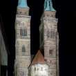 Night view of the Saint Sebaldus Church in Nuremberg - Stock Photo